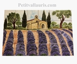 FRESQUE MURALE CARRELAGE FAIENCE DECOR CHAPELLE ET LAVANDES