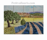FRESQUE 40x30 DECOR VILLAGE CHAMPS DE LAVANDES ET OLIVIERS