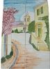 FRESQUE MURALE CARRELAGE FAIENCE VILLAGE PROVENCAL, CLOCHER