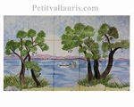 FRESQUE MURALE CARRELAGE DECOR A LA MAIN BORD DE MER ET PINS