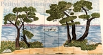 FRESQUE MURALE CARRELAGE DECOR BORD DE MER ET PINS 60 X 105
