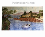 FRESQUE FAIENCE MURALE DECOR VOILIER ET CALANQUE 100 X 150