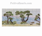 FRESQUE MURALE CARRELAGE DECOR BORD DE MER ET PINS 47 X 100